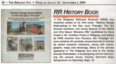 Blurb in our local paper, the Ridgway Sun. Click on the image to go to the Suns website.